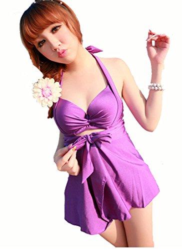 TM Deep V Halter Ruffle Padded Bra one piece bikini swimsuit plus size women Purple