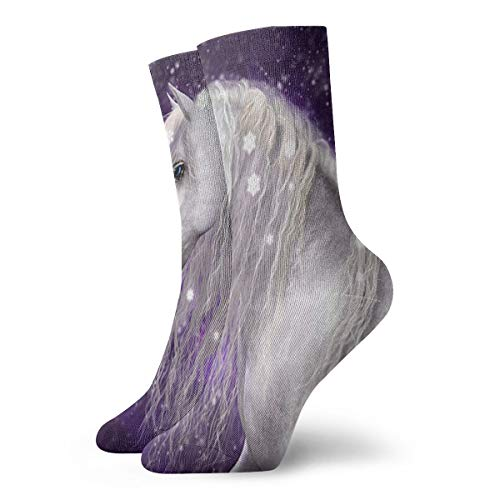 Crew Socks Purple Star Unicorn Custom Personalized Womens Casual Stocking Holiday Sock Clearance for Teens ()