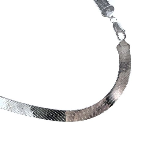 8.7mm Herringbone Sterling Silver Necklace. Italian .925 Chain. 16,18,20,22,24,30 inches. (16 -