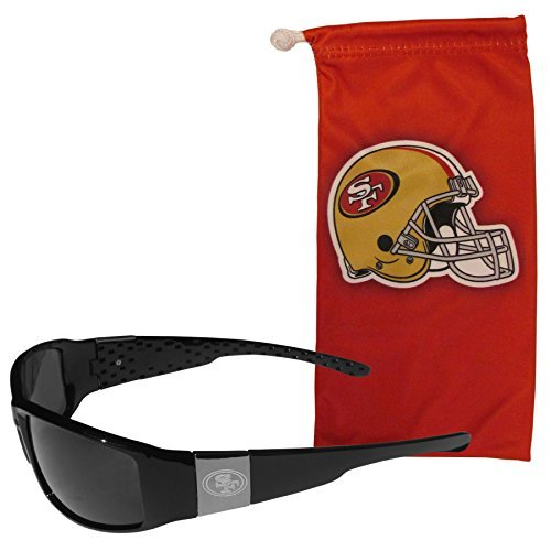NFL San Francisco 49ers Etched Chrome Wrap Sunglasses and Bag, Adult Size, ()