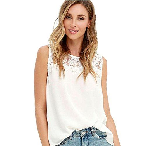 Dyed Sleeveless (TAORE Women Chiffon Lace Sleeveless Shirt Blouse Casual Tank Tops (XS, White))
