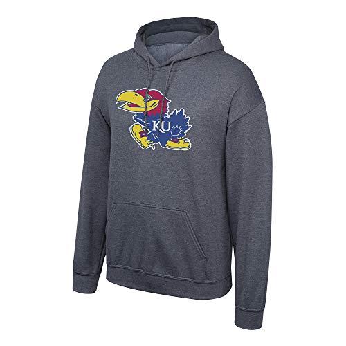 Elite Fan Shop NCAA Men's Kansas Jayhawks Hoodie Sweatshirt Dark Heather Icon Kansas Jayhawks Dark Heather Small