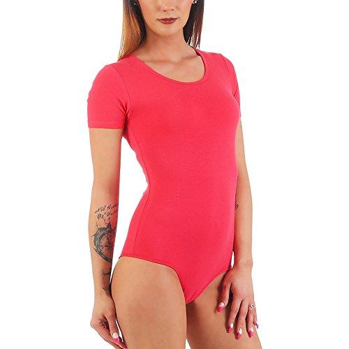 Bali Lingerie–Body de manga corta, para mujer, con escote en forma de U Coral
