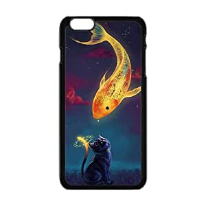 Custom Animal Cute Cat with fish Painting Pattern Case For iPhone 6Plus