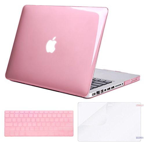 MOSISO Plastic Hard Shell Case & Keyboard Cover & Screen Protector Only Compatible Old MacBook Pro 13 Inch (Model: A1278, with CD-ROM), Release Early 2012/2011/2010/2009/2008, Crystal Pink