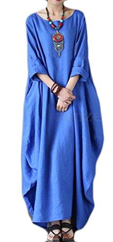 Coupe Ample Moitié Femme Manches Cromoncent Crewneck Balançoire Robe Maxi Bleu M