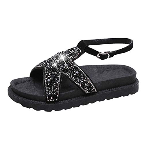 Peigen Thick Bottom Heel Casual Shoes Women Summer Bling Sequined Cloth Round Toe Sandals Casual Shoes
