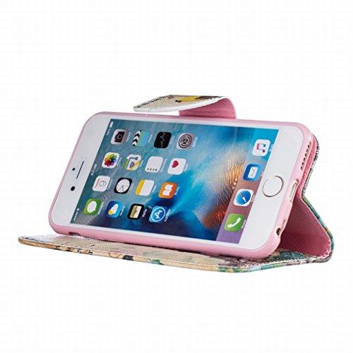 Sottile 4 Flip Borsa Custodia LEMORRY Cover iPhone 6 Card per Slot Silicone Case Chiusura Morbido Magnetico Cuoio TPU Pelle 7 Protettivo iPhone Fit Portafoglio 7 Standing Apple 6 Custodia Bumper 4 w8CvP