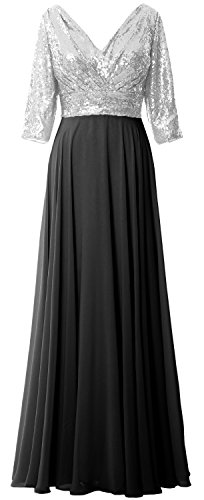 4 Sleeve Gown Women Neck Wedding 3 Sequin Black Silver Mother MACloth Chiffon Dress V Formal qZ1wEnyqBt
