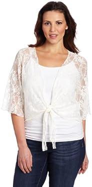 Star Vixen Women's Plus-Size 3/4 Sleeve Lace Tie Front Shrug Swea