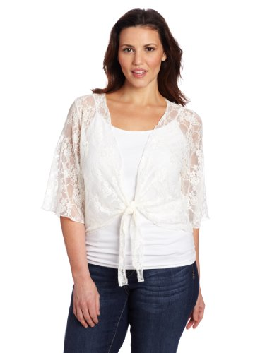 lus-Size 3/4 Sleeve Lace Tie Front Shrug Sweater, Ivory, 1X (Lace Nylon Tie)