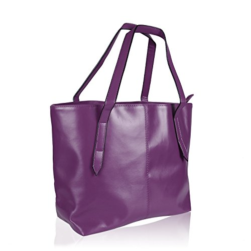 - HDE Womens Leather Tote Bag Carryall Handbag Purse (Purple)