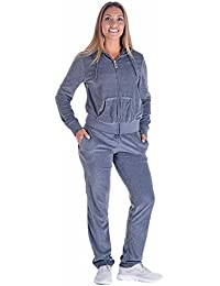 Black Grey Womens Velvet Zip Hooded Sweatshirt Athletic Soft Plus Size Hooded and Sweat Pants Tracksuit Set