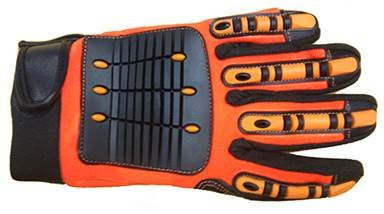 MECHANIC GLOVES ANTI-VIB BLACK/ORANGE by Elisanliving (Image #1)