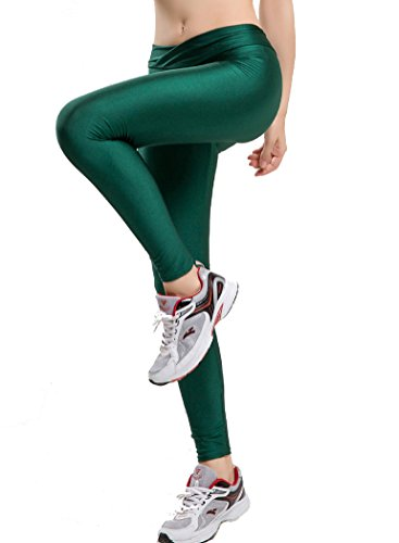 Romastory Women Fluorescent Colors Tights Stretched Sports Leggings Yoga Pants (M, Dark Green) -