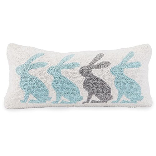Bunny Throw (Mud Pie Repeating Bunny 8 Inches x 18 Inches Wool Hooked Throw Pillows)