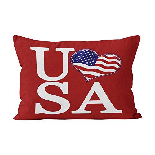 Suklly Hot Red Heart Usa Hidden Zipper Home Decorative Rectangle Throw Pillow Cover Cushion Case Boudoir 12x20 Inch One Side Design Printed Pillowcase
