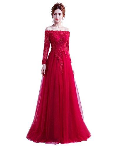 Abendkleider Damen V ELegant Lang Brautjungfernkleid Weinrot Ausschnitt Hochzeit für Pailletten LuckyShe O7qIxwAO