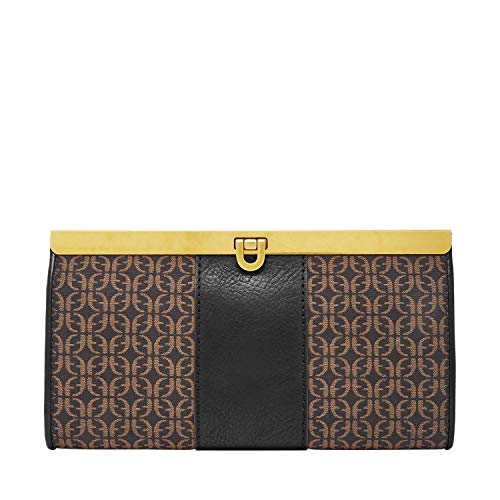 Fossil Kayla Frame Clutch Black/Brown, One Size