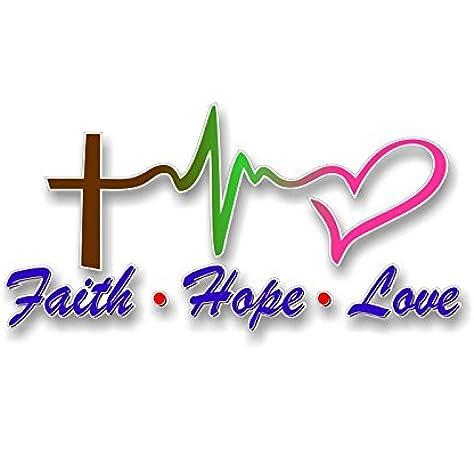 "FAITH HOPE LOVE Vinyl Decal Sticker Car Window Wall Bumper Symbol Heart Cross 8/"""