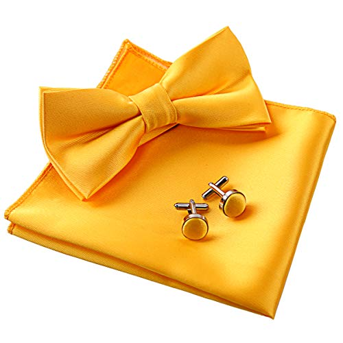 (Alizeal Mens Tuxedo Bow Tie, Hanky and Cufflinks Set (Yellow))