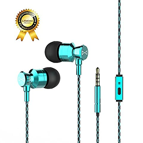 Marsno M1 Wired Metal In Ear Headphones, Noise Isolating Stereo Bass Earphones With Mic,Dynamic Drivers Earbuds Provide Stereo & Crystal Clear Sound (Ipad 4 Back Housing)