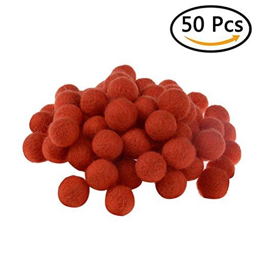 50 Pcs Wool Felt Balls 20mm Wool Beads Fluffy Pom Poms Ball Decoration for DIY Craft Christmas Decor Making, Orange (4u Filler)
