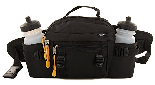 Unique Imports Premium Fanny Waist Lumbar Pack with Water Bottle Holder Hiking Climbing Walking Outdoors by Everest, Includes 2 Everest Squeeze Bottles (Black)