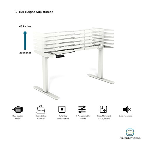 Steel Adjustable Frame (Merge Works Highrise - Dual Motor, Heavy Duty Electric Height Adjustable Base Ergonomic Sit to Stand Desk, White)