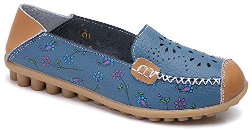 Fangsto Womens Floreale In Pelle Mocassini Flats Scarpe Slip-on Sty-2 Blu