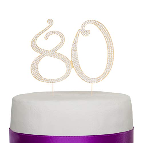 Ella Celebration 80 Gold Cake Topper for 80th Birthday Party Crystal Rhinestone Number Decoration (Gold) -