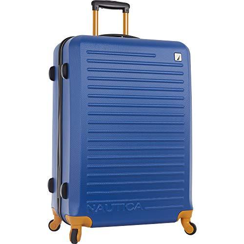 Nautica Ahoy Hardside Expandable 4-Wheeled Luggage-28 Inch Checked Size, Blue/Tangerine
