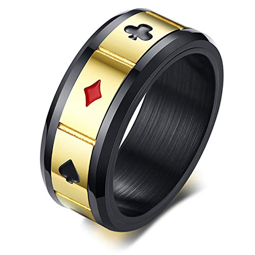 Jakob Miller Stainless Steel Poker Games Biker Spade Ring Men's Playing Card Spade Ace Novelty Funny Ring, Sizes 8-12