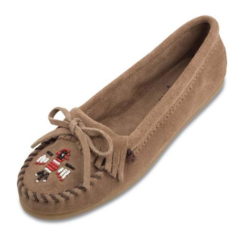 Women's Minnetonka Moccasin ThunderBird II Boat Sole-7.5--Taupe - Beaded Moccasins