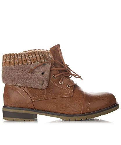 RF ROOM OF FASHION Women's Lace-up Combat Military Inspired Sweater Knit Folded Cuff Mid-Calf Ankle Booties