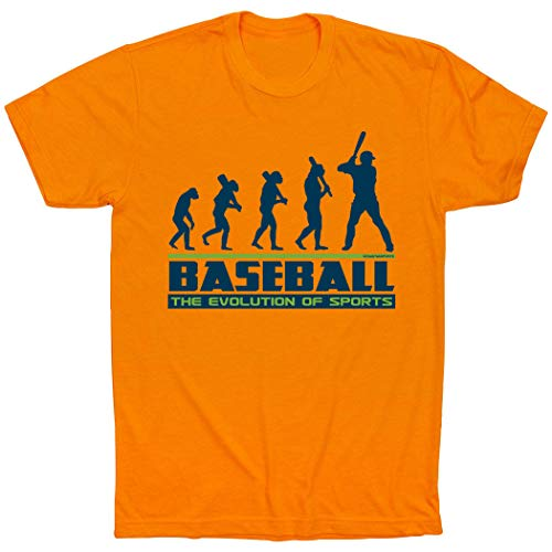 - ChalkTalkSPORTS Evolution of Baseball T-Shirt | Baseball Tees Orange | Adult X-Large