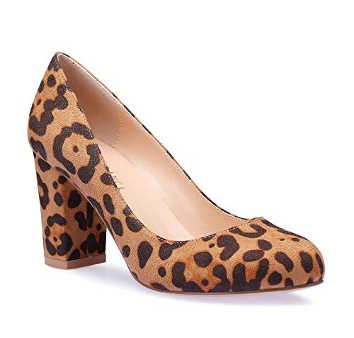 SUNETEDANCE Women's Block Heel Pumps Round Toe Heels Sexy Elegant Slip-on Comfort Classic High Heels Office Business Shoes Suede Leopard Pump 9 M US