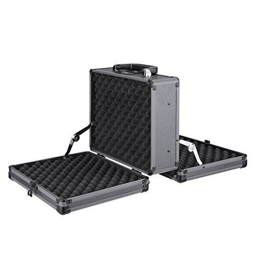 iKayaa Double Sided Aluminum Hard Pistol Handgun Case With 2 Combination Locks Security Gun Carry Storage Box Accessory by IKAYAA