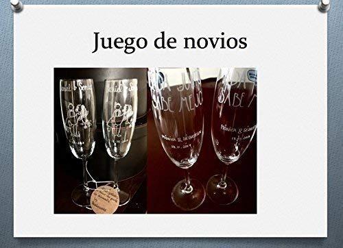 MEJOR PRECIO ¡¡¡¡¡Cuatro copas de champan PERSONALIZADAS. Dos copas de brindis y dos para cena romántica. ++++OFERTA HASTA EL 30 DE JUNIO.(Gratis una de las copas grabadas con los nombres y fechas)
