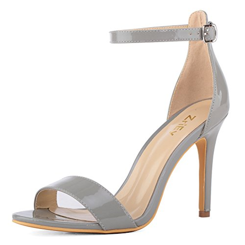 ZriEy Women's Heeled Sandals Ankle Strap High Heels 10CM Open Toe Bridal Party Shoes Patent Leather Grey Size 7 (Patent Sexy Sandals)