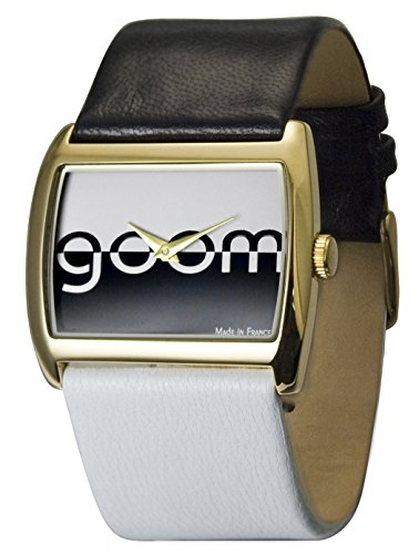 Moog Paris - Bi-couleur - Women's Watch with black and white dial, white and black strap in Genuine calf leather, made in France - M45592-005