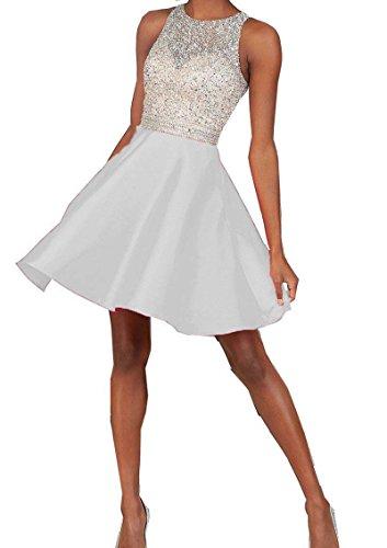 Miya 2016 Short Beading Open Back Satin Homecoming Dress Prom Gowns White