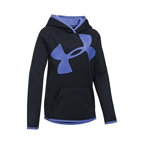 Under Armour Girls' Armour Fleece Jumbo Logo Hoodie, Black (002)/Violet Storm, Youth Medium All Over Logo Hoody
