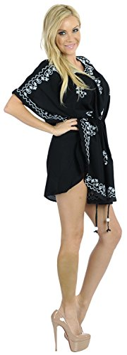 La Leela rayón viscosa bordado además cubre tamaño de playa piscina, las mujeres caftan top negro blusa túnica