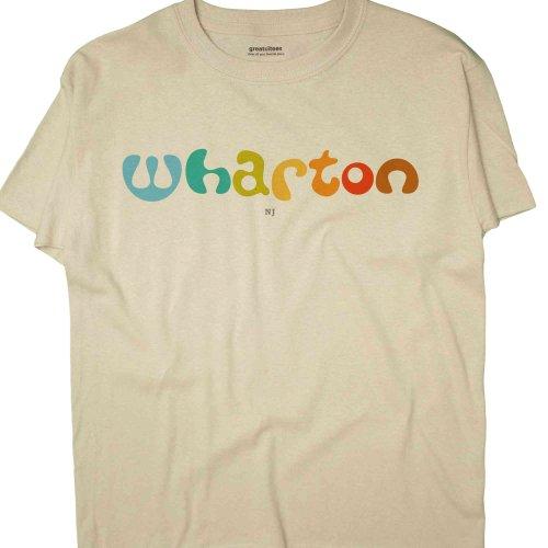 GreatCitees Unisex Wharton New Jersey NJ T Shirt AMOEBA Medium Natural (Wharton Natural)