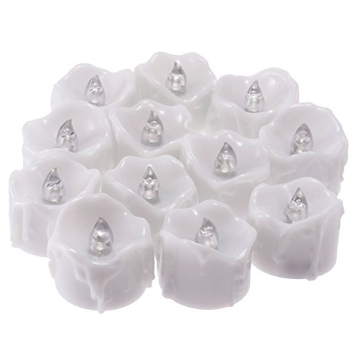 PChero Timer Candles, 12pcs Flickering Battery Operated LED Flameless Tea Light Candles, Perfect for Birthday Wedding Party Home Seasonal & Festival Decor - [Cold White] by PChero (Image #4)
