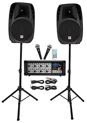 Best Rockville Package PA System Mixer/Amp+ 15 inch Speakers+Stands+Mics+Bluetooth, 15