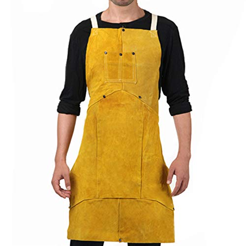 Phoenixfly99 Leather Welding Bib Apron Cowhide Split Leather Safety Apparel Flame Resistant Apron With Pocket Yellow (24-Inch By 36-Inch)