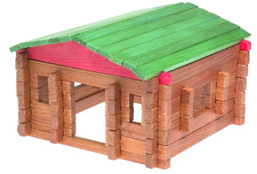 Classic LOG Cabin Playset in Canister 140 Pcs #20001 made in New England