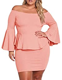 947b6f996d6 Womens Plus Size Peplum Dresses Off The Shoulder Bell Sleeve Ruched Sexy  Mini Party Dress · Yskkt